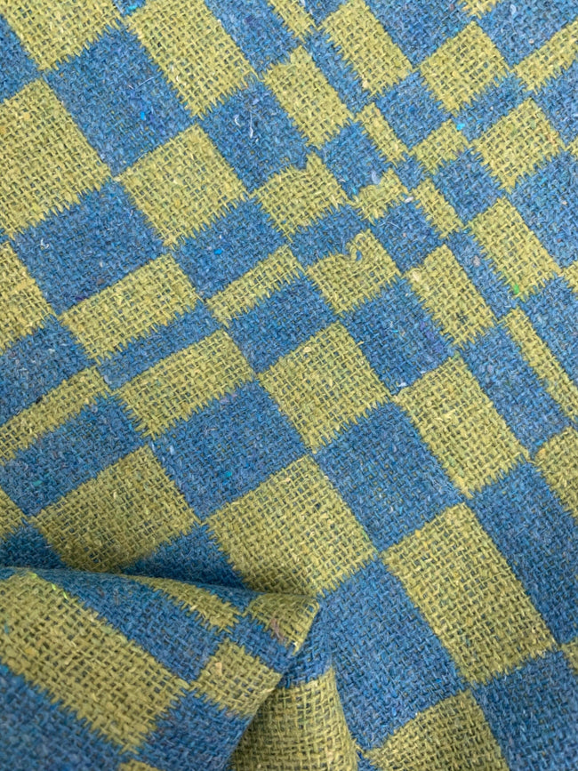 Designer Wool - Green & Blue Checkers