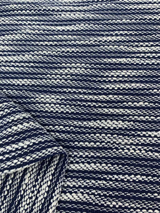 Textured Knit - Blue & White