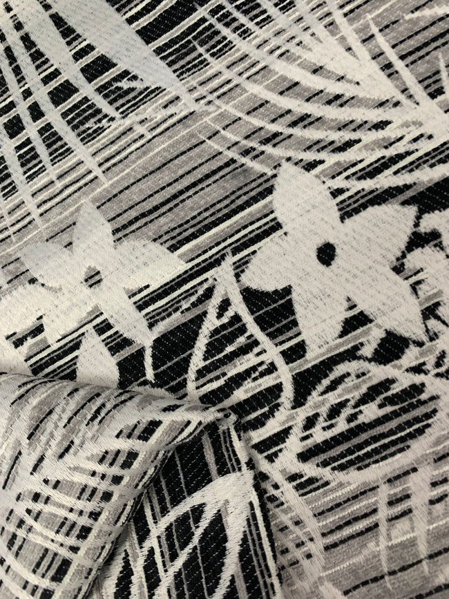 Designer Fabric - Black White Flower Stripe