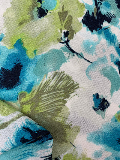 Rayon - Blue & Green Floral