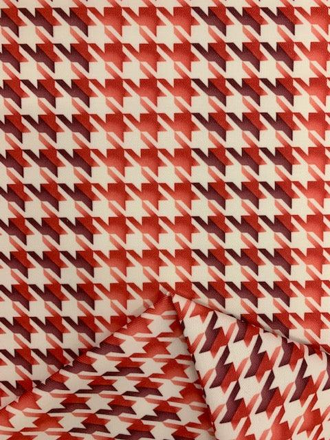 Stretch Bengaline - Red Houndstooth