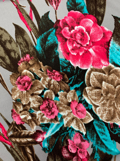 Printed Lycra - Pink & Teal Native Bouquet