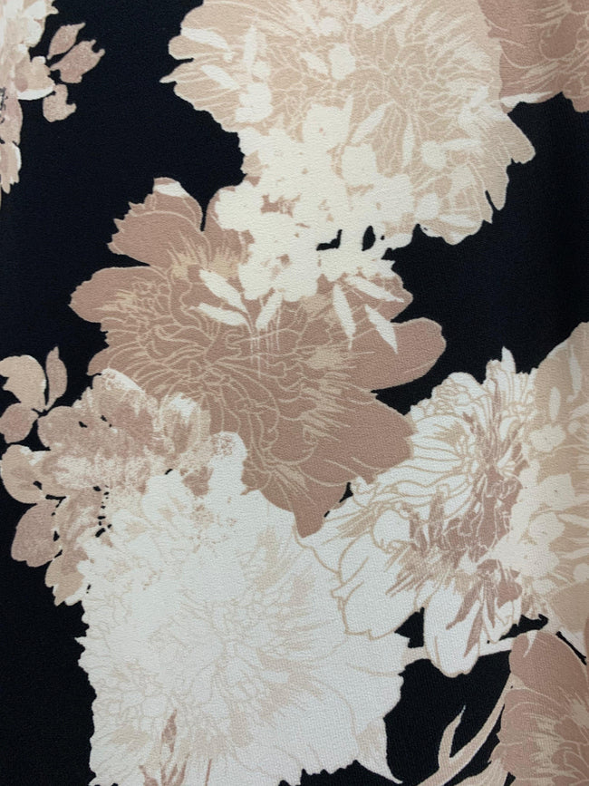 Printed Lycra - Black & Beige Pressed Flowers