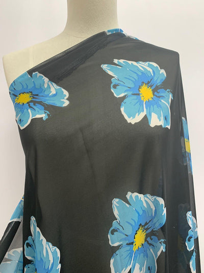 Cheap Printed Chiffon - Black Background with Blue and Yellow Florwers