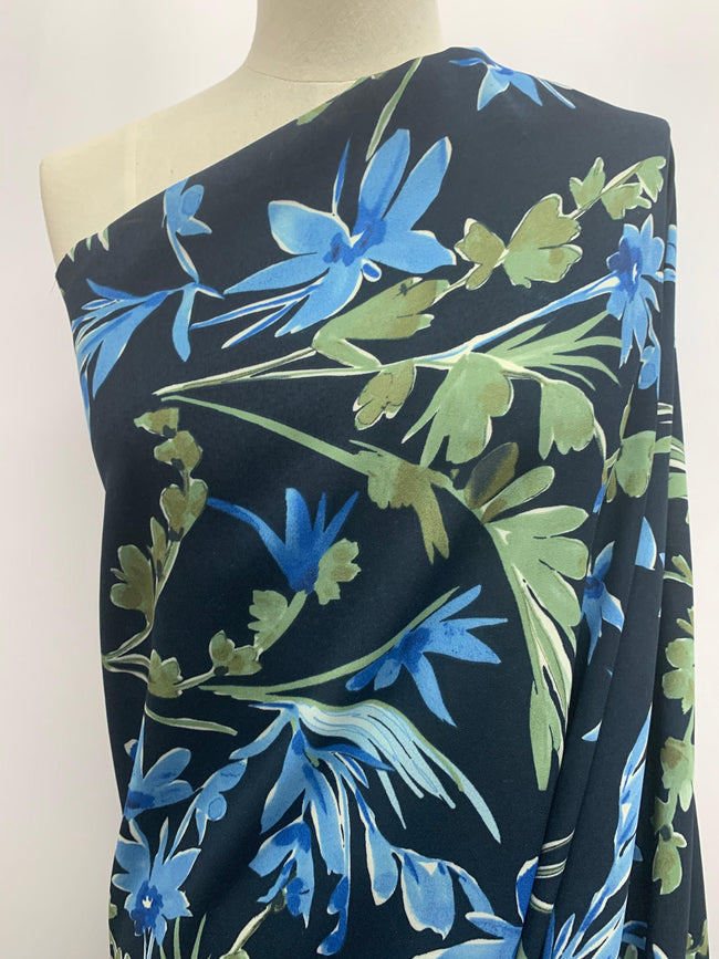 Georgette - Navy with Blue & Green Blooms