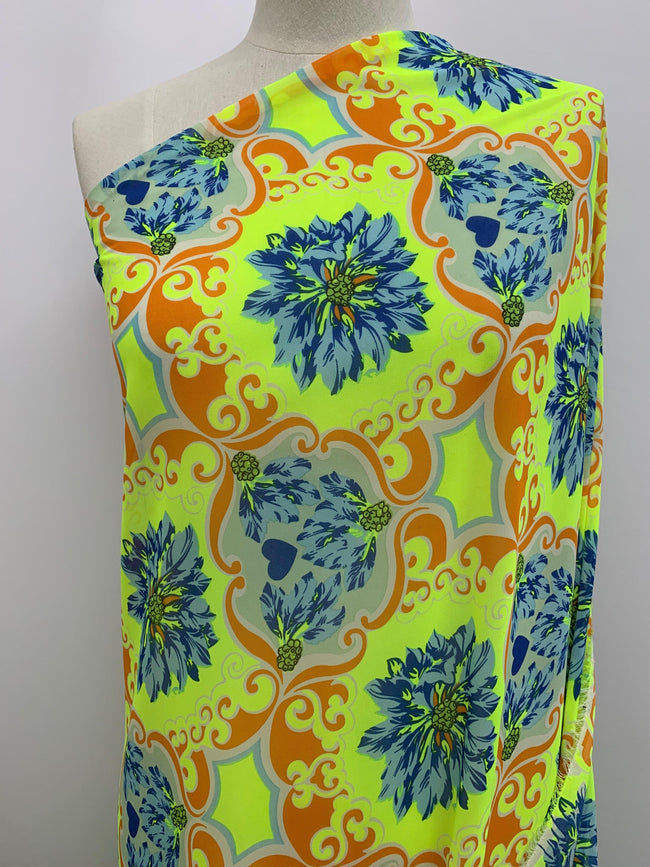 Neon Yellow Printed Chiffon Fabric