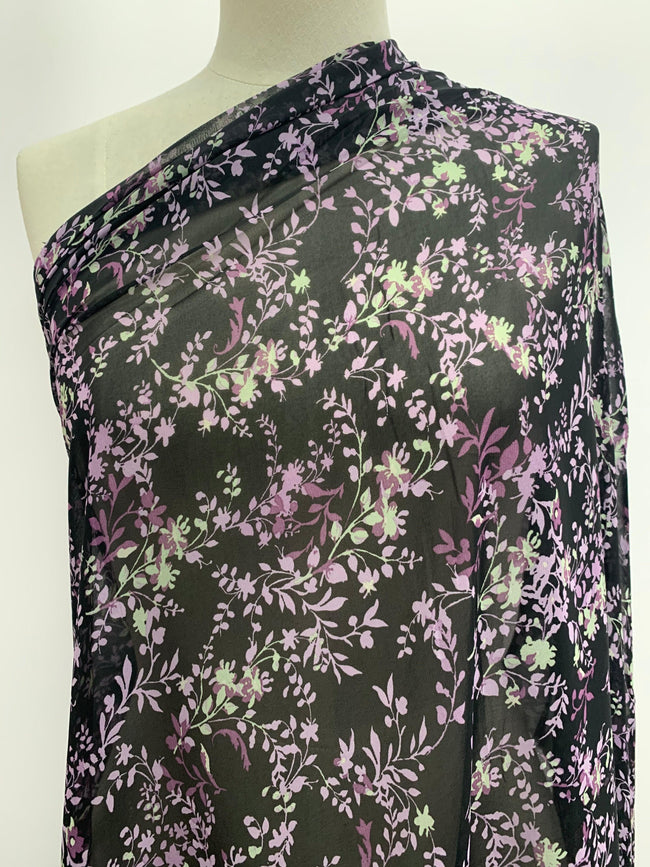 Printed Chiffon - Purple & Black Floral