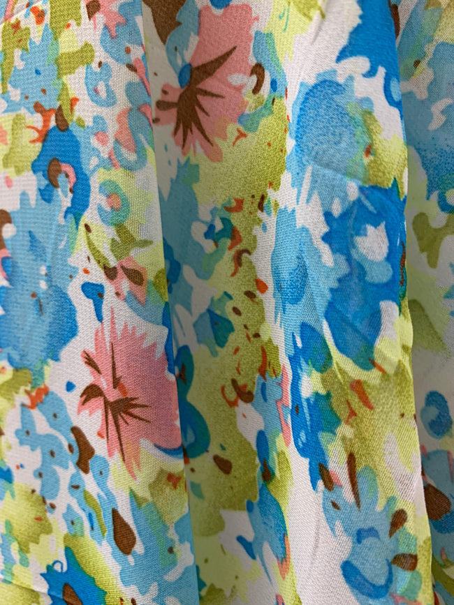 Printed Chiffon - Lime & Blue Floral