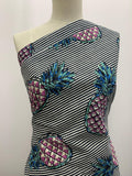 Printed Linen - Navy Stripe Pineapple