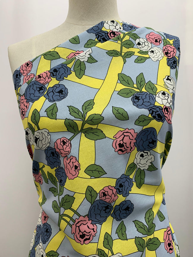 Printed Linen - Yellow Lattice Flower
