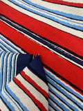 Printed Linen - Blue & Red Stripe