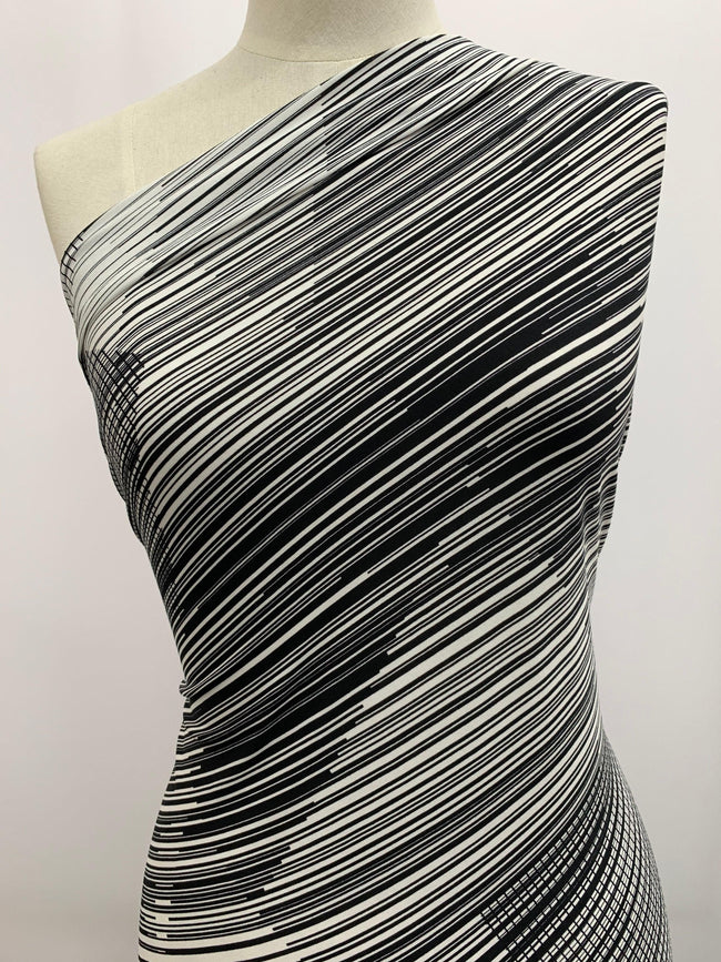 Black & White Printed Lycra Fabric