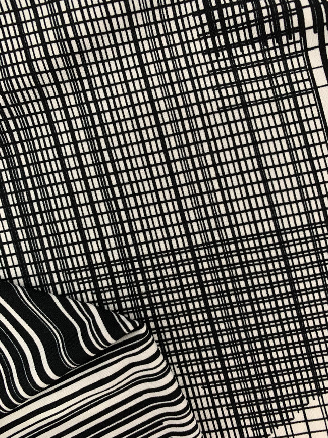 Black White Printed Lycra Material