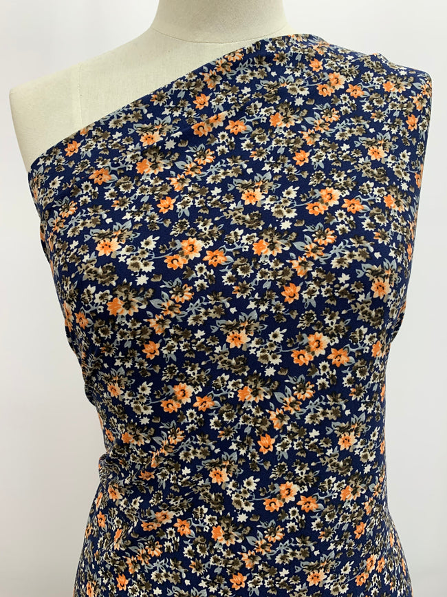 Navy & Orange Floral Printed Lycra Fabric