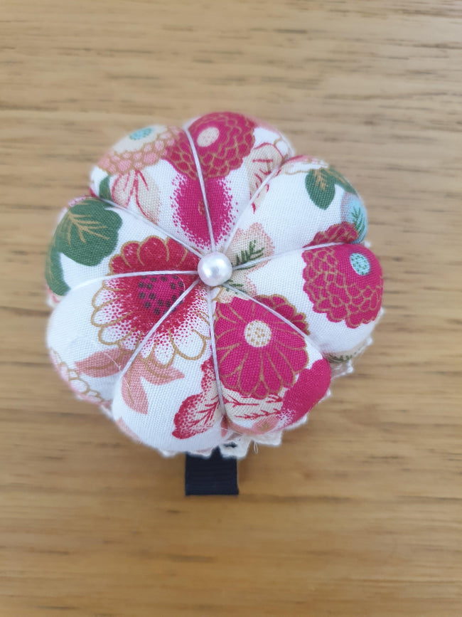 Super Cheap Fabrics - Pincushion - White Floral - 6cm wide