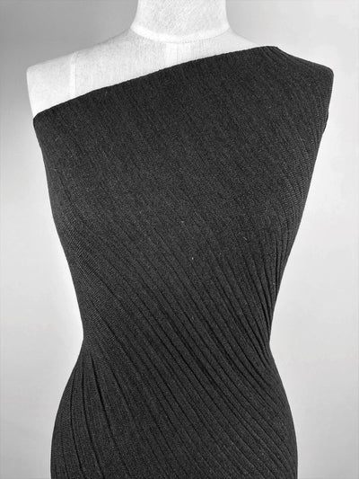 Super Cheap Fabrics - Textured Knit - Black Ripple - 150cm