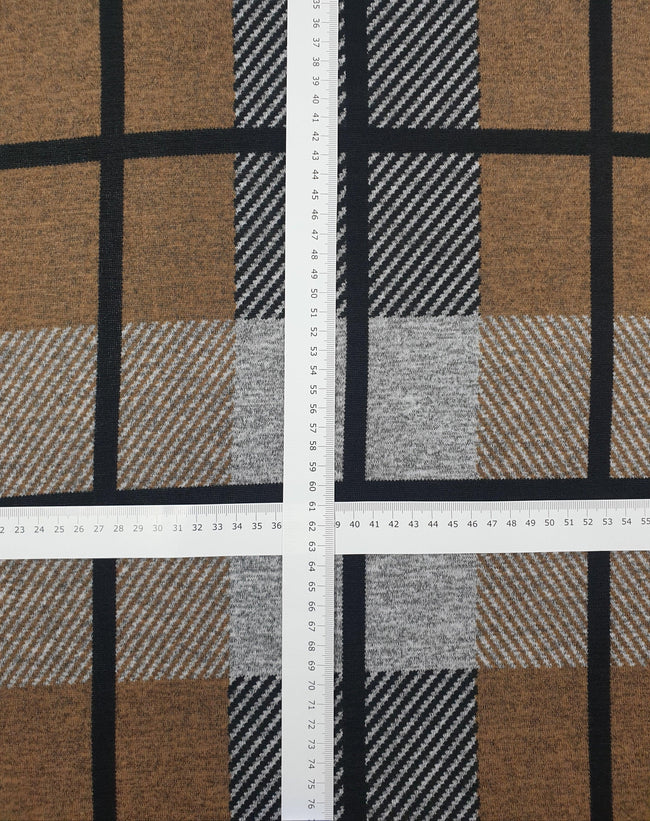 Super Cheap Fabrics - Textured Knit - Block Grid - 150cm - flatlay