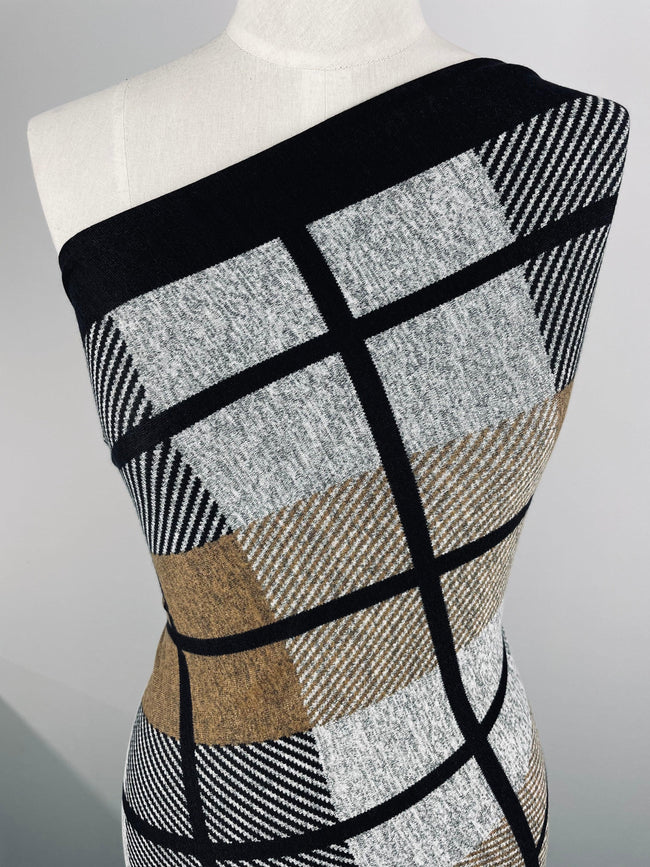 Super Cheap Fabrics - Textured Knit - Block Grid - 150cm