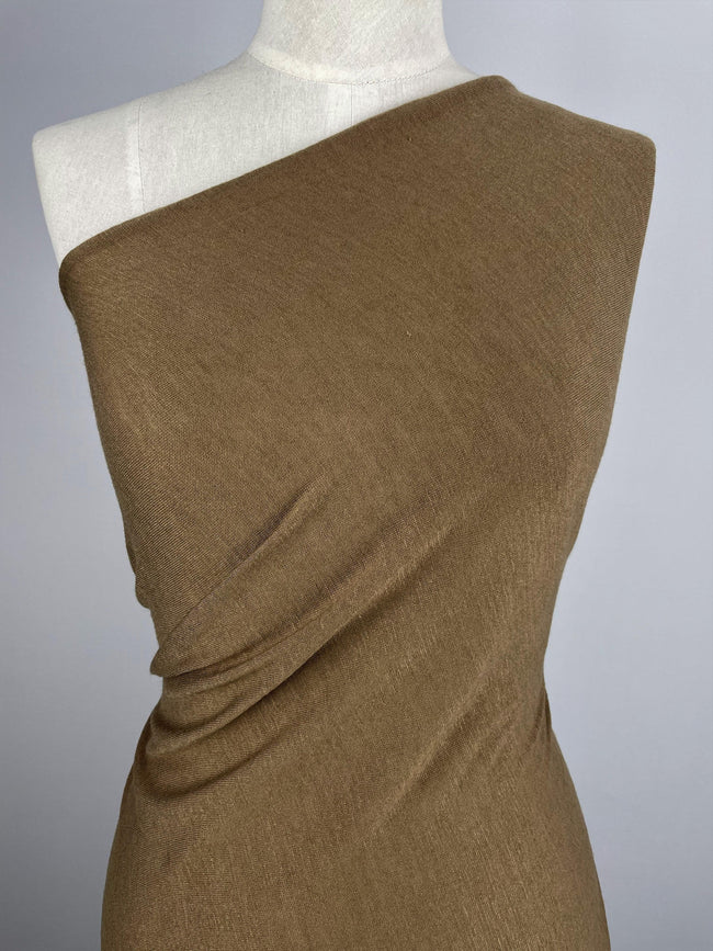 Super Cheap Fabrics - Wool Polyester Knit - Toffee Brown - 150cm