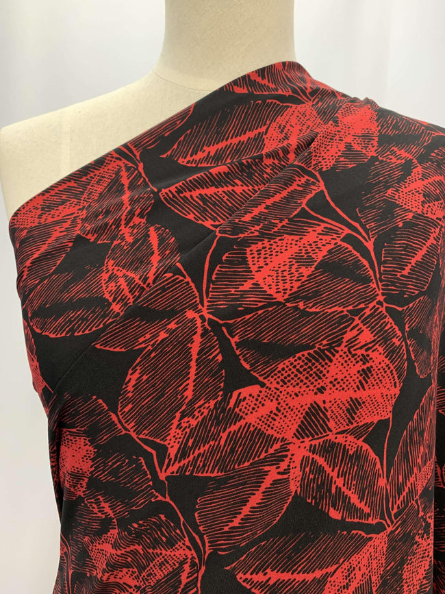 Printed Lycra - Red Leaf
