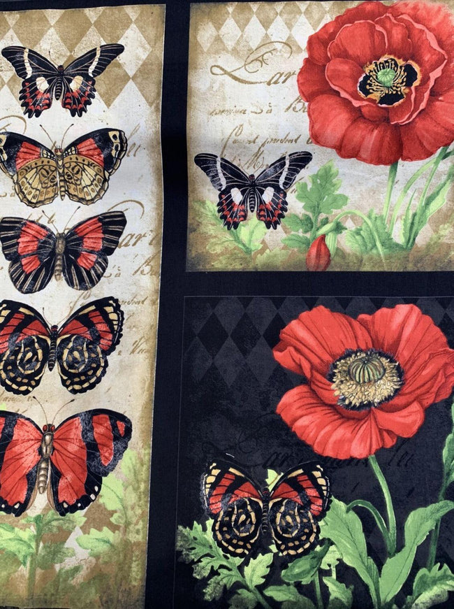 Printed Cotton - Butterfly Heaven - 62cm x 112cm panel