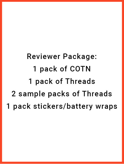 COTN Reviewer Package (1 pack cotn, 1 pack threads, 2 sample packs, 1 pack of stickers/battery wraps)