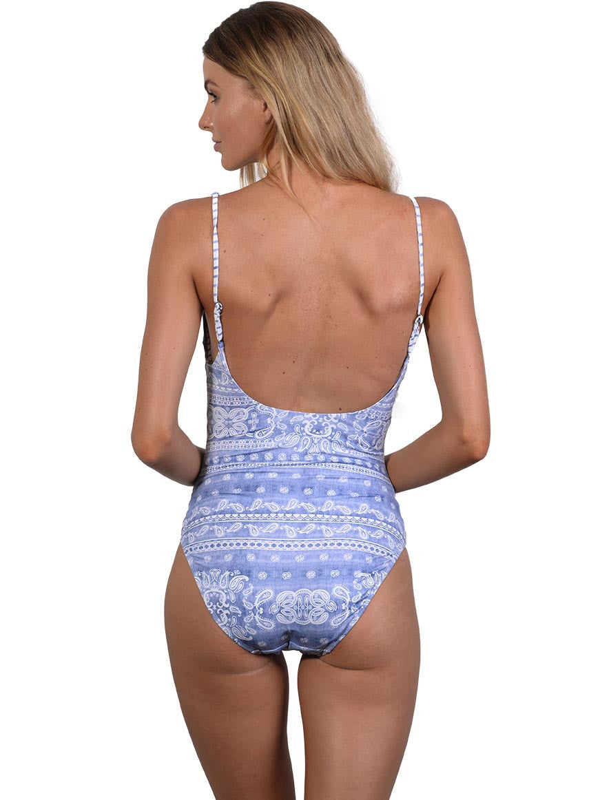 Back view of Blue Bohemian Tank Onepiece
