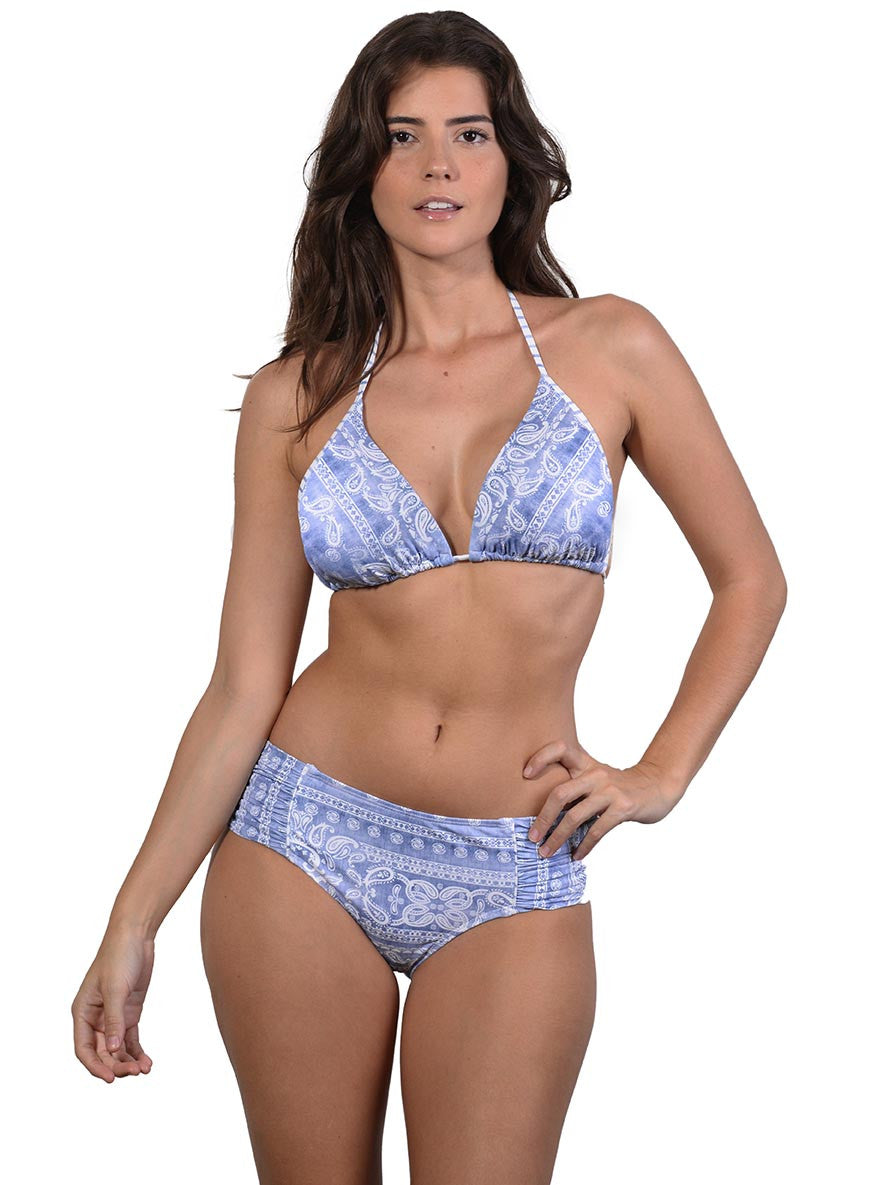 Blue Bohemian D-E Triangle Bikini Top by Finch Swim