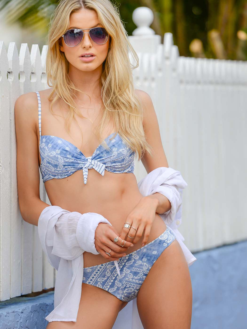 Blue Bohemian B-C Moulded Underwire Top by Finch Swim