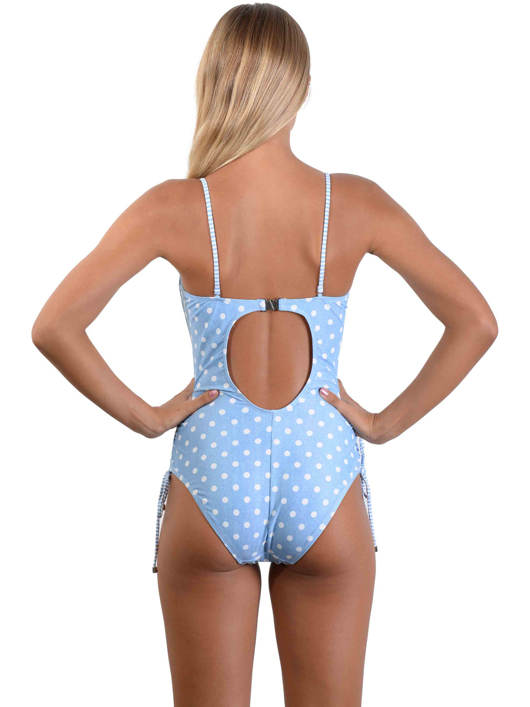 Back of Blue Hawaii Bandeau Spot Onepiece with straps