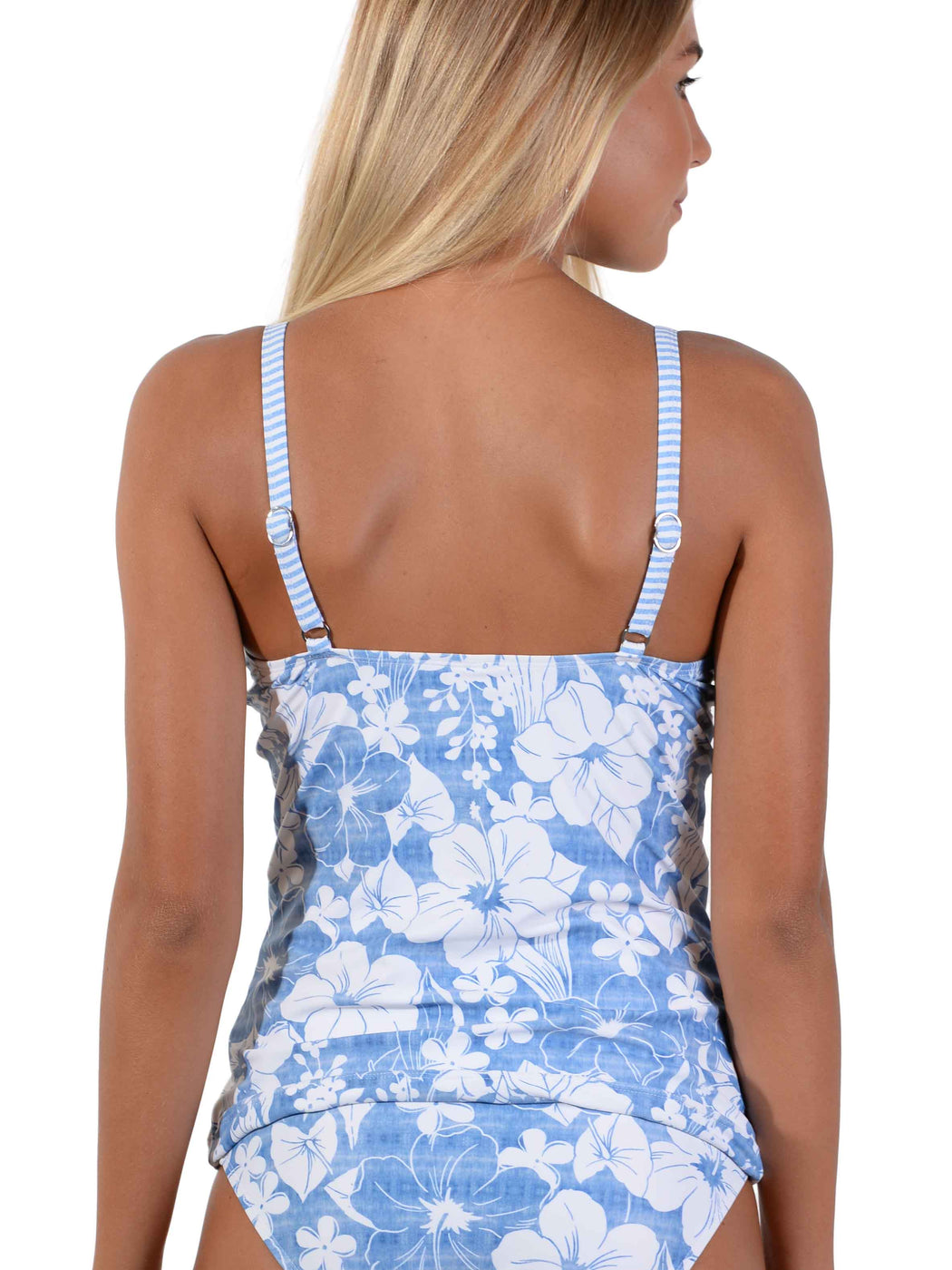 Back of Blue Hawaii D-E Ruche Singlet Bikini Top