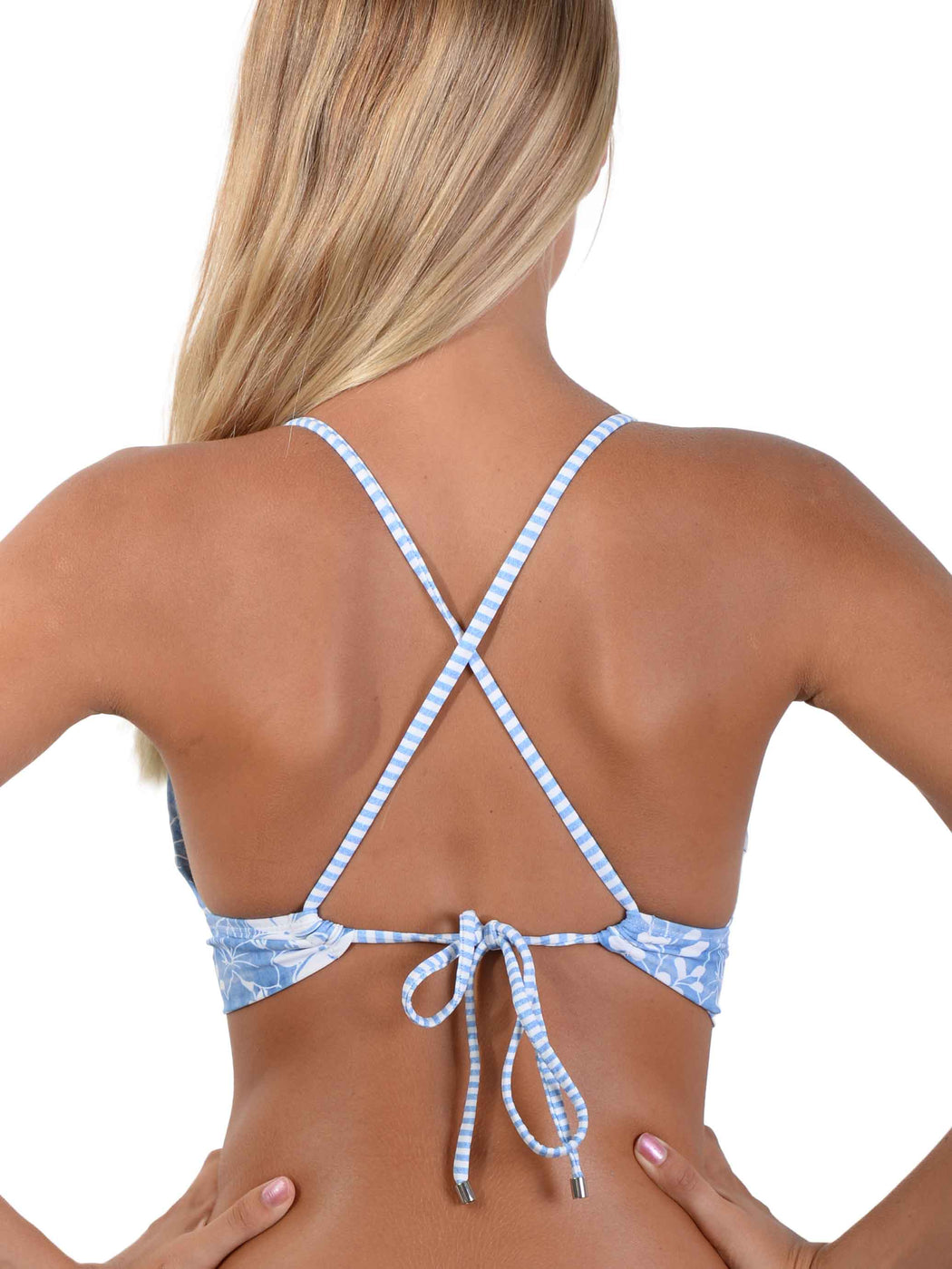 Back of Blue Hawaii Cross Back Triangle Bikini Top
