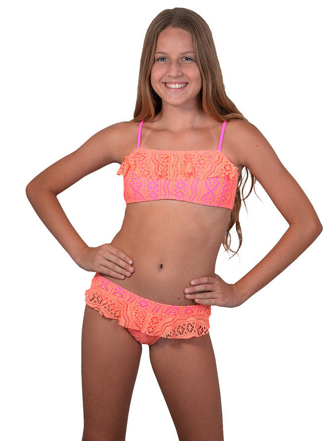 Finch Girls bikini with bandeau top and frill skirted bottoms