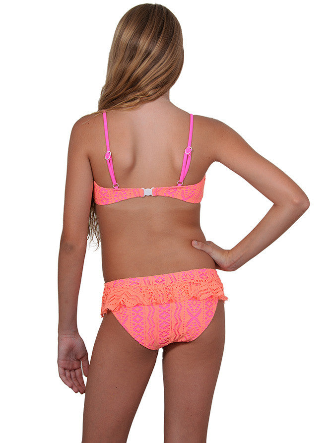Back of girls bandeau frill bikini in Candy Crush