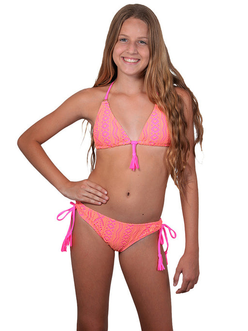 Finch Girls bikini with tri top and tie side bottoms