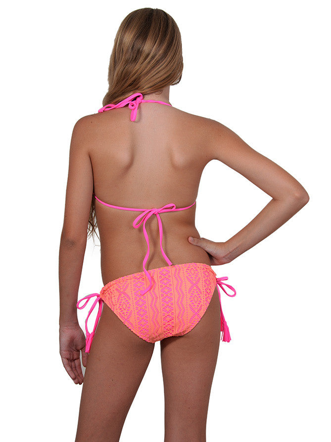 Back of girls Tri Bikini in Candy Crush