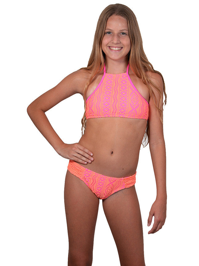 Finch Girls bikini with high neck top and hipster bottoms
