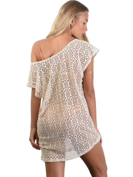 Back of French Connection Lace Coverup Dress in Latte