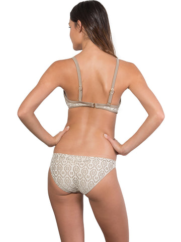 French Connection Ruche Back Hipster Bikini Pant in Latte