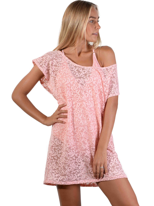 French Connection Lace Coverup Dress in Tea Rose