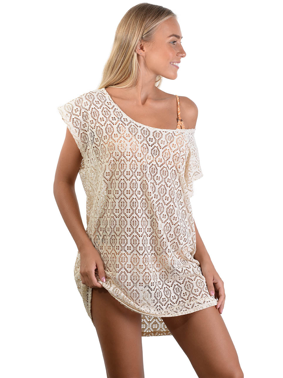 French Connection Lace Coverup Dress in Latte