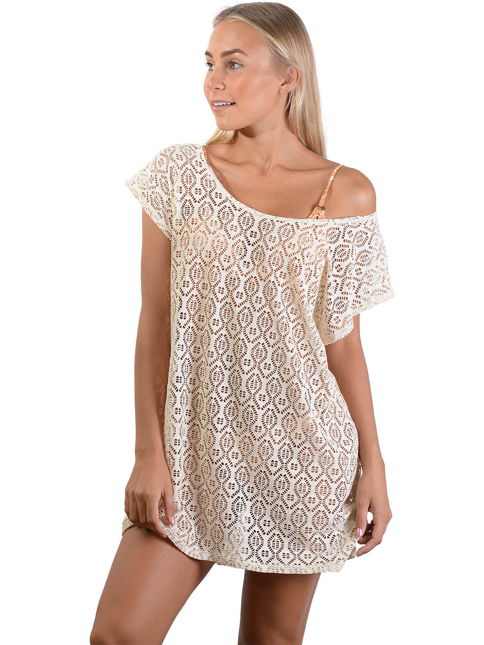 Latte French Connection Lace Coverup Dress