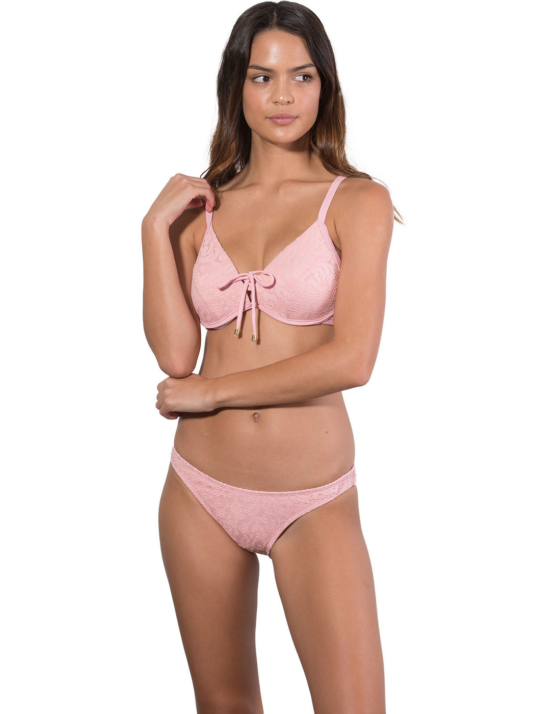 Front view of French Connection Ruche Back Hipster Bikini Pant with D cup Bralette Bikini Top