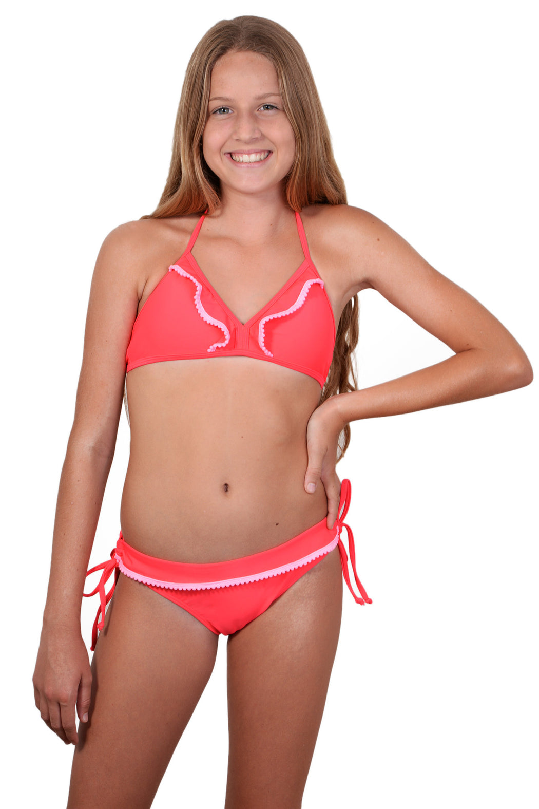Fiesta colour Finch Girls bikini with bralette top and hipster bottoms