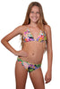 Finch Girls bikini with frilled triangle top and frilled hipster bottoms