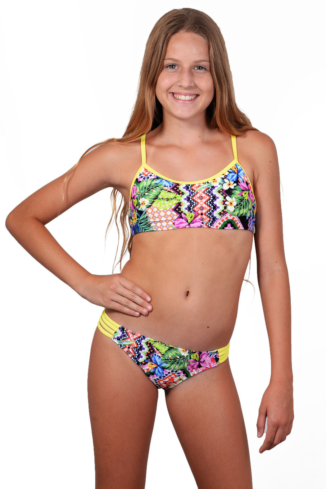 Finch Girls bikini with active top and hipster bottoms