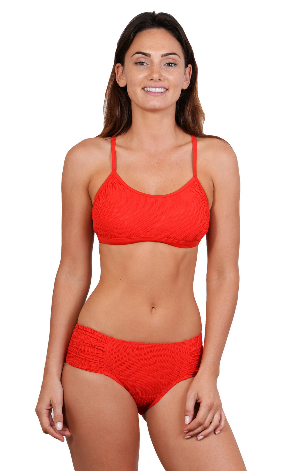 Bikini top with athletic style, removable cups, and adjustable straps