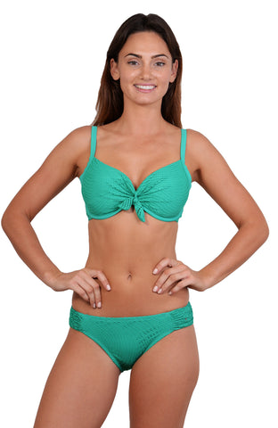 Finch Swim bikini top with tie back, removable cups, adjustable straps for a D-DD cup