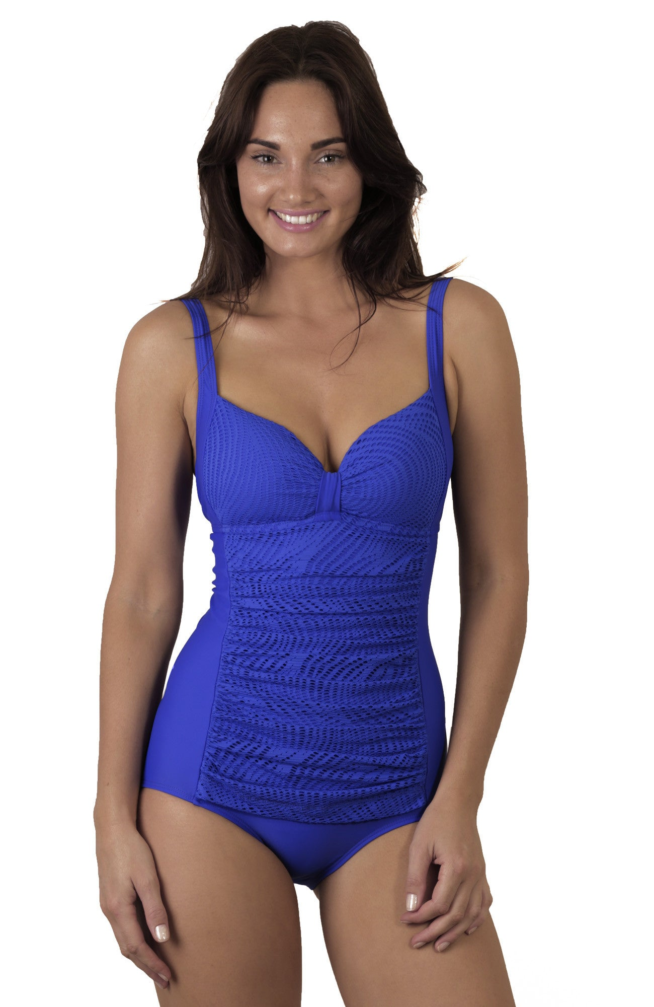 Finch Swim onepiece swimsuit with adjustable straps, removable cups, clip back, mesh support for a full bust.