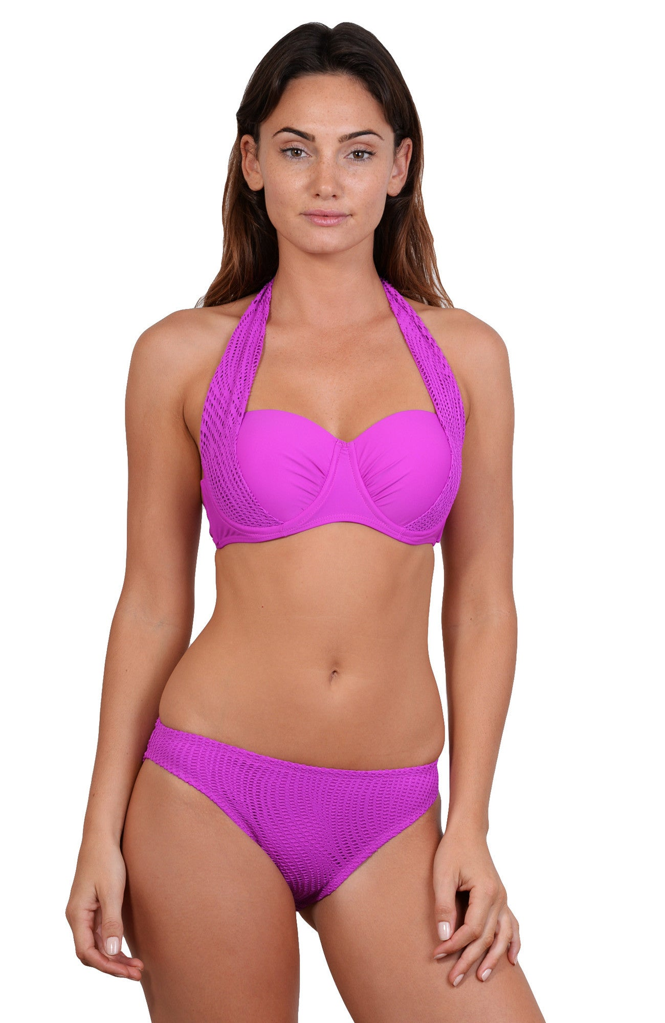 Finch Swim bikini top with clip back, underwire, fixed cups, side bone
